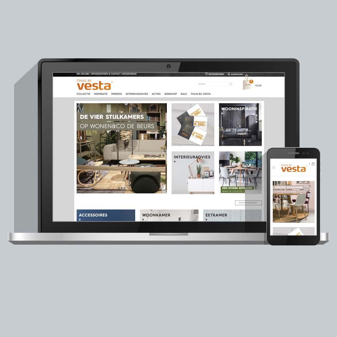 Website met webshop voor Vesta Groningen | Schriever design en concept